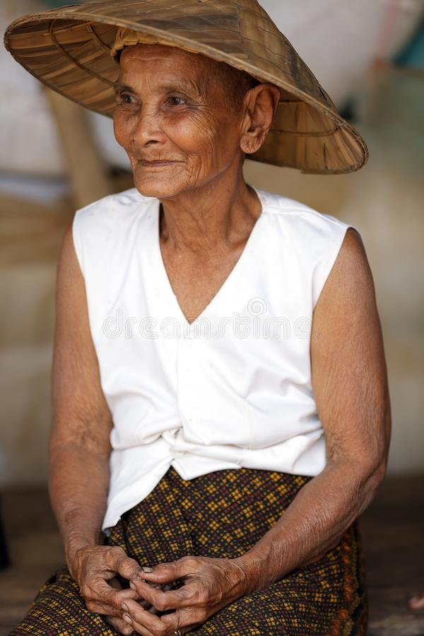 Old Cambodian woman royalty free stock photo