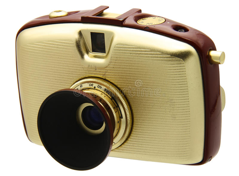 Old camera. Old stylish compact camera on white stock photos