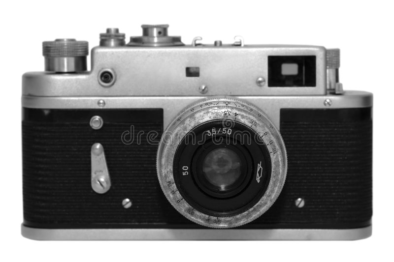 Old camera. Isolated black and white stock photos