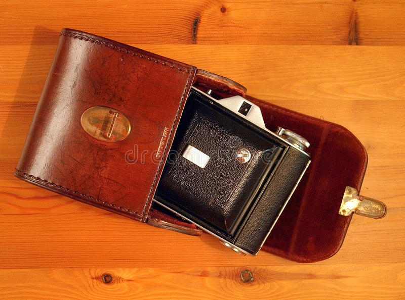 Download Old camera, with case stock image. Image of velvet, worn - 32311433