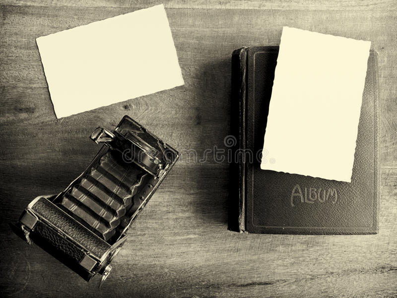 Antique Camera With Empty Pictures Stock Photo
