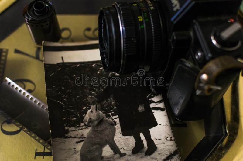 Old camera and old film stock photography