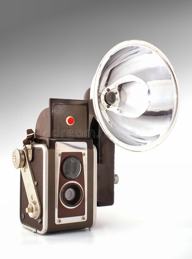 Download Old camera with flash stock photo. Image of cover, focal - 17525840