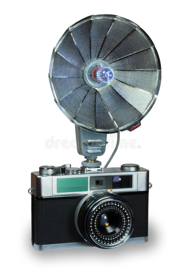Download Old camera with flash stock photo. Image of outmoded, negative - 7187026