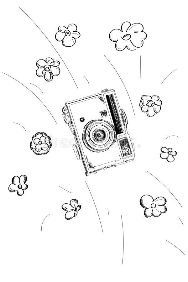 Old camera flies with flowers black and white vector . stock illustration