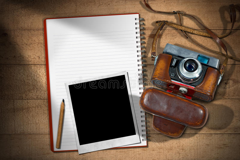 Old Camera - Instant Photo Frame and Notebook stock image