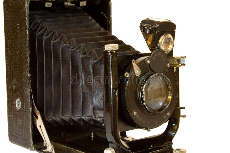 Old camera isolated on white royalty free stock photo