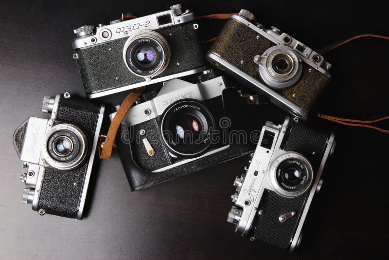 Old camera. Old russian camera zenith, zorkiy, fed, industar (USSR royalty free stock photos
