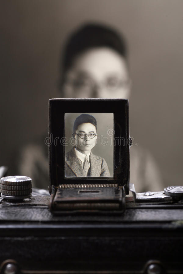 Old camera's viewfinder stock image