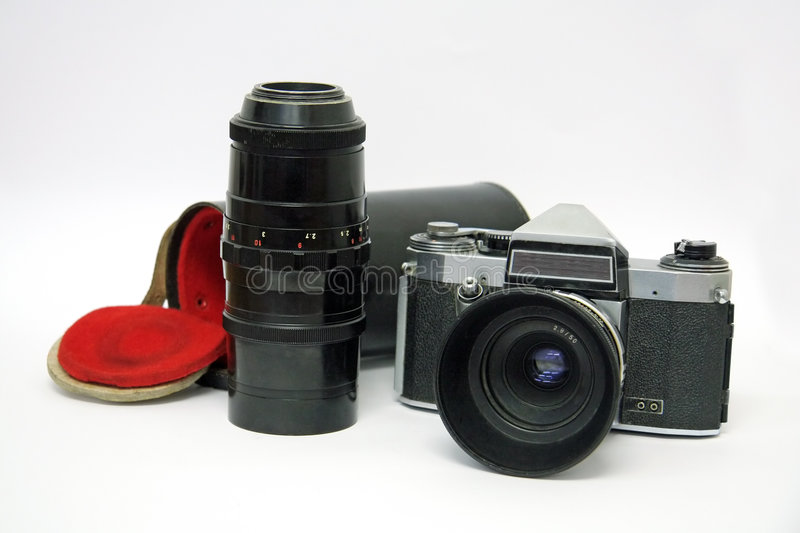 Download Old Camera With Telephoto Lens Stock Image - Image: 4875551