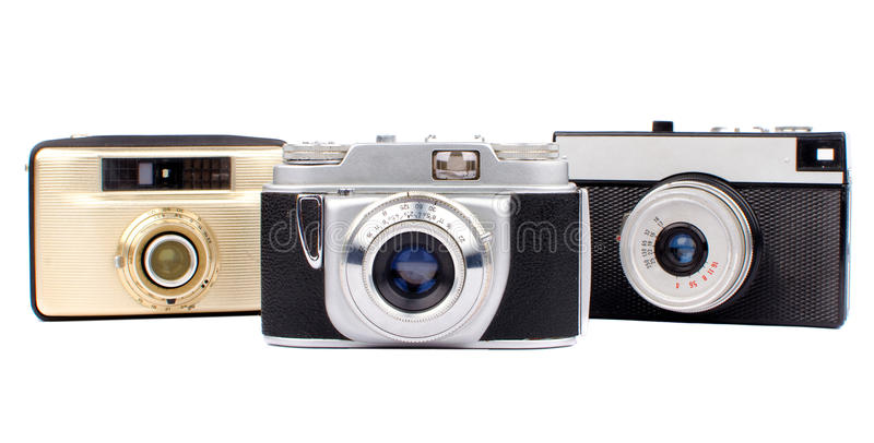 Old cameras. Old Russian 35mm film cameras. Isolated on white background royalty free stock photography