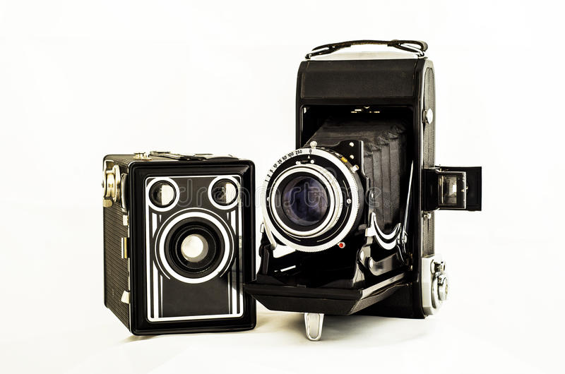 Old Cameras. On withe background stock images