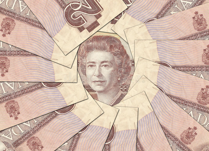 Old Canadian Banknotes. End Of An Era 1986 was the last year for Canada 2 dollar banknotes. The Image is focused on OTTAWA's portrait stock image