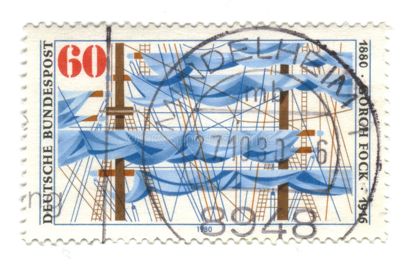 Old canceled german stamp. With sail boat royalty free stock photos