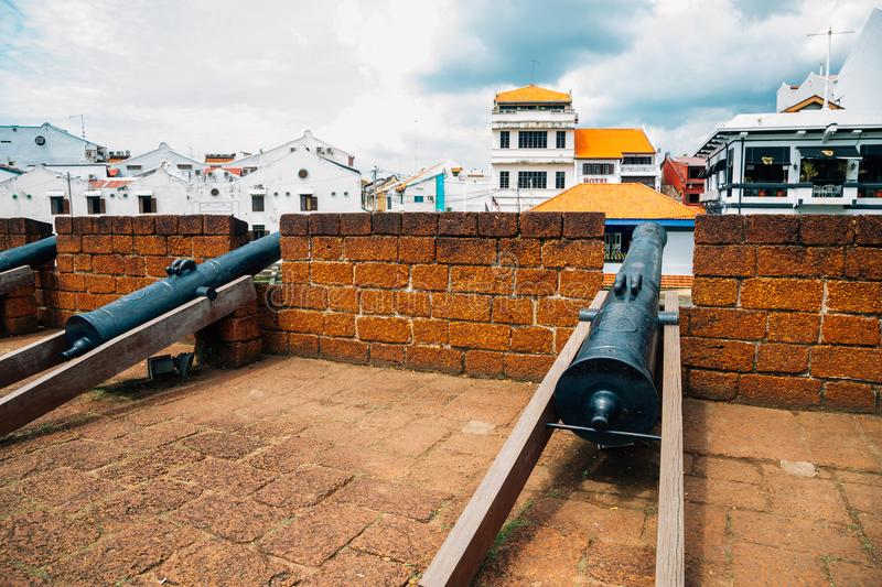 Old cannon at Bastion Middleburg in Malacca, Malaysia. Asia stock images