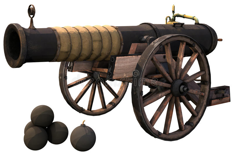 Old cannon and bombs royalty free illustration