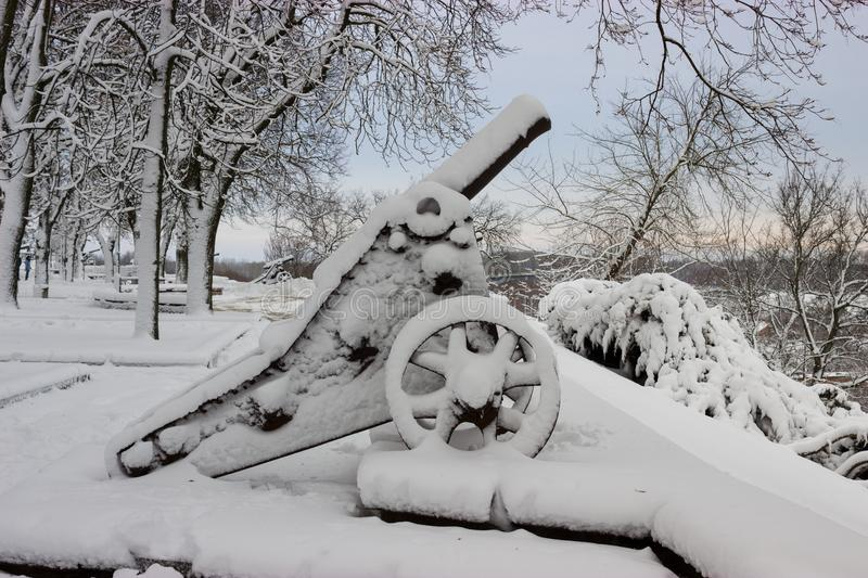 Old cannon and trees covered snow after winter storm. Old cannon with carriage after huge winter storm. Photo taken in Chernihiv, Ukraine stock image