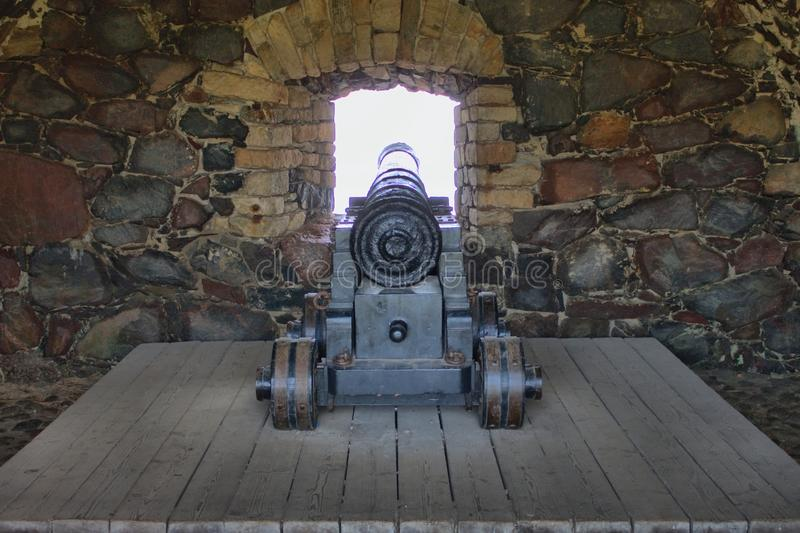 Old cannon in the fortress of Suomenlinna royalty free stock photos