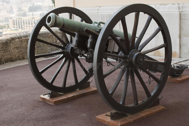 Old cannon at the Palace of Monaco. Beautiful old cannon at the Palace of Monaco royalty free stock image