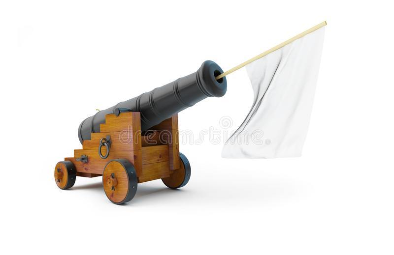 Old Cannon White Flag Surrender on a white background 3D illustration, 3D rendering. Old Cannon White Flag Surrender on a white background 3D illustration, 3D vector illustration