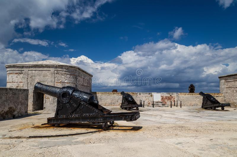 Old cannons. In a colonial fort stock photography