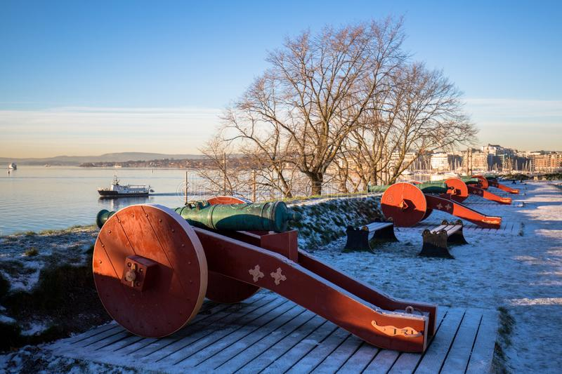 Cannons at Hovedoya in Oslo. Old cannons at the Hovedøya island near Oslo, Norway royalty free stock photography