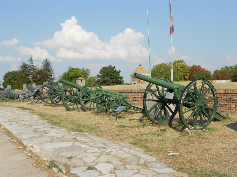 Old cannons. Photography of old cannons at Belgrade military museum, Belgrade fortress, blue sky in background , Serbia stock photography