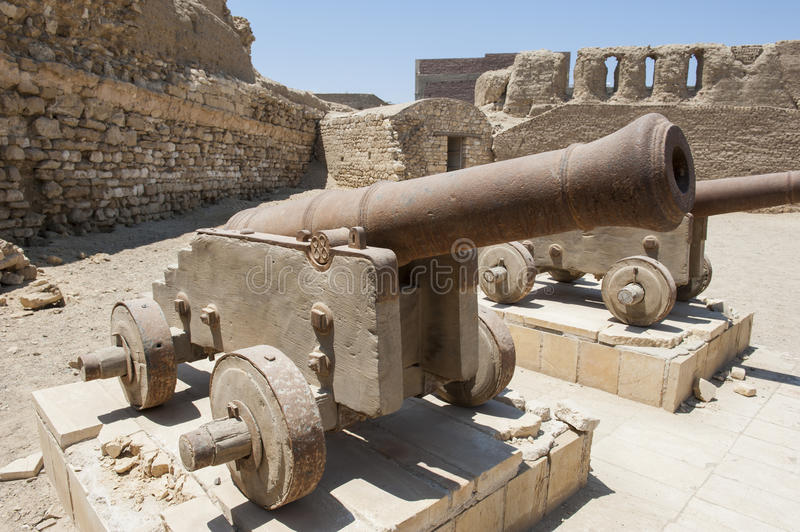 Old cannons at a roman fort. Old abandoned napoleonic cannons at an abandoned roman fort in El Quseir Egypt stock photography