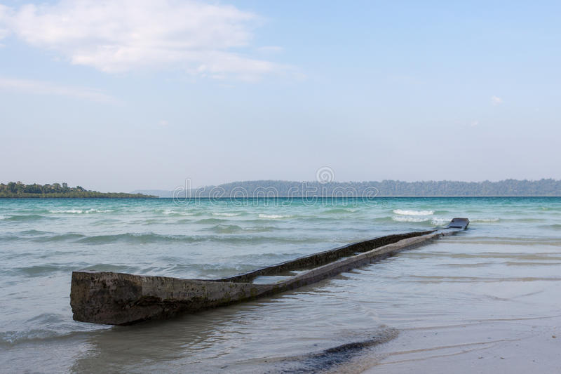 Old canoe at Havelock Island, Andamans, India. stock images