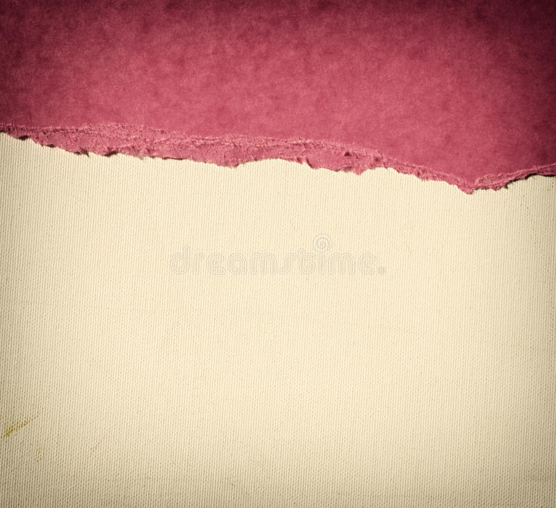 Old canvas texture background with delicate stripes pattern and pink vintage torn paper. Canvas texture background with delicate stripes pattern and pink vintage royalty free stock image