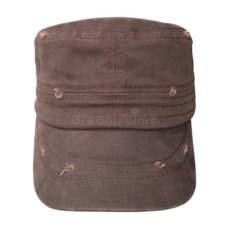 Old cap isolated on white background. Baseball caps in military style. Clipping path royalty free stock images