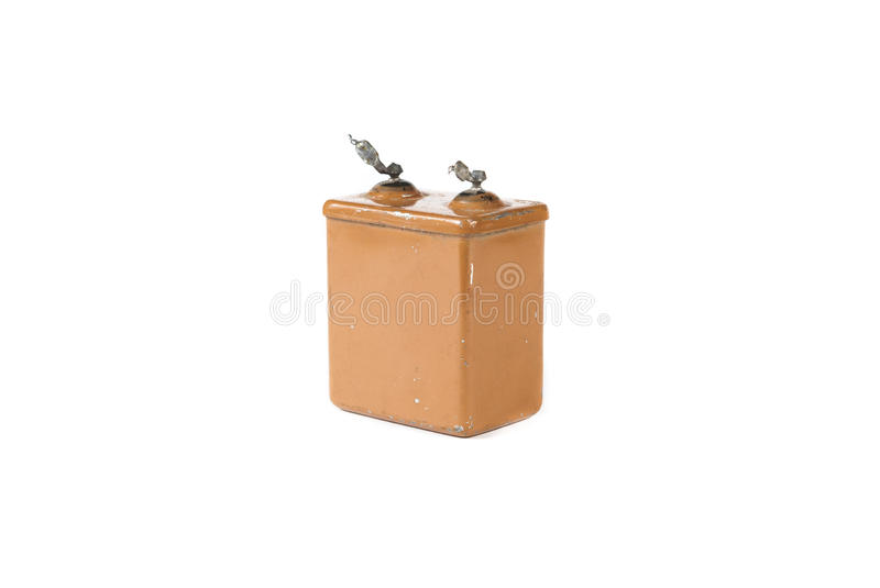 Old capacitor isolated on white background royalty free stock photo