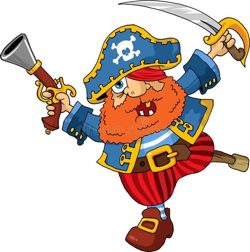Old captain. Old pirate captain with a shout rushed to board royalty free illustration