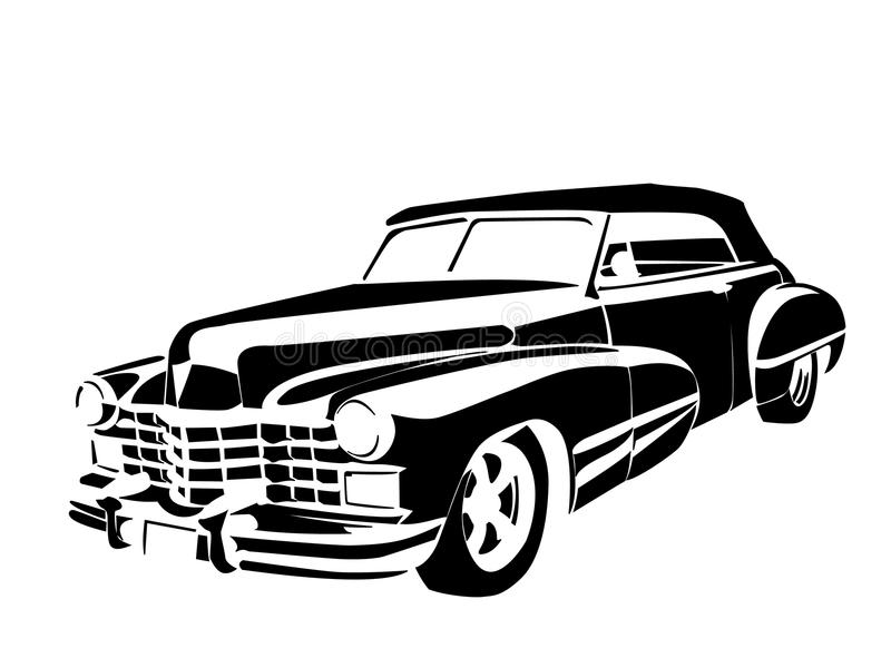 Old car. Old classic vintage car drown in black on white vector illustration