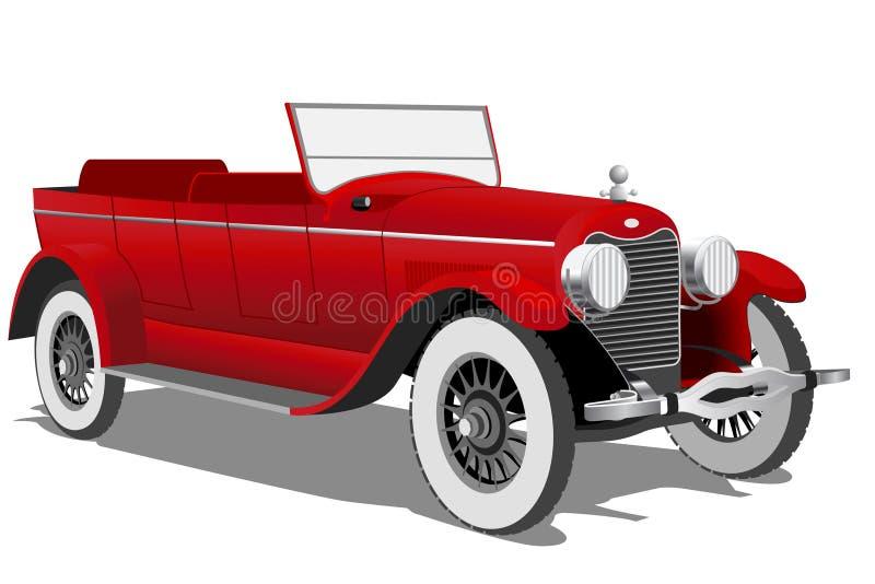 Old car. Red Vintage Car on white background vector illustration