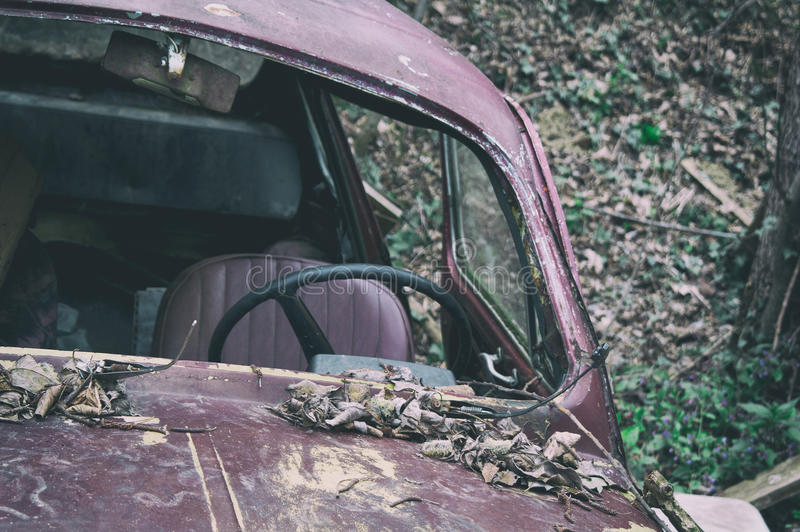 Old car abandoned in nature. stock image