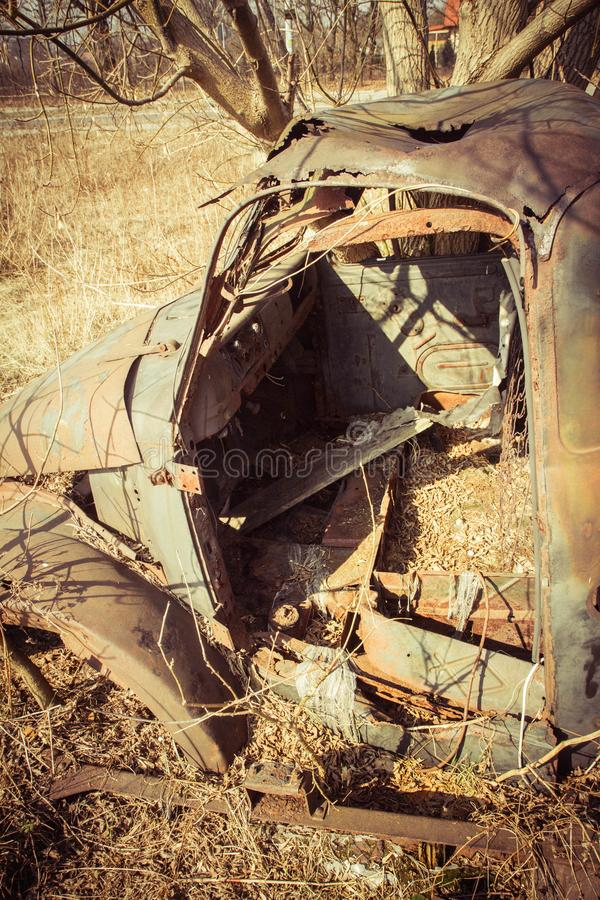 Abandoned old car stock photography