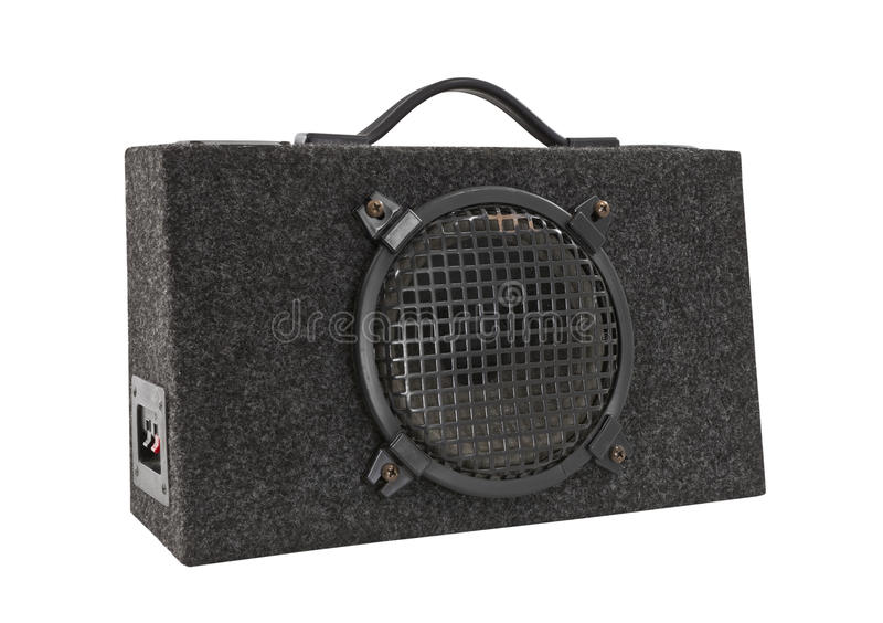 Old Car Audio Boom Box Woofer Isolated. With clipping path royalty free stock photography