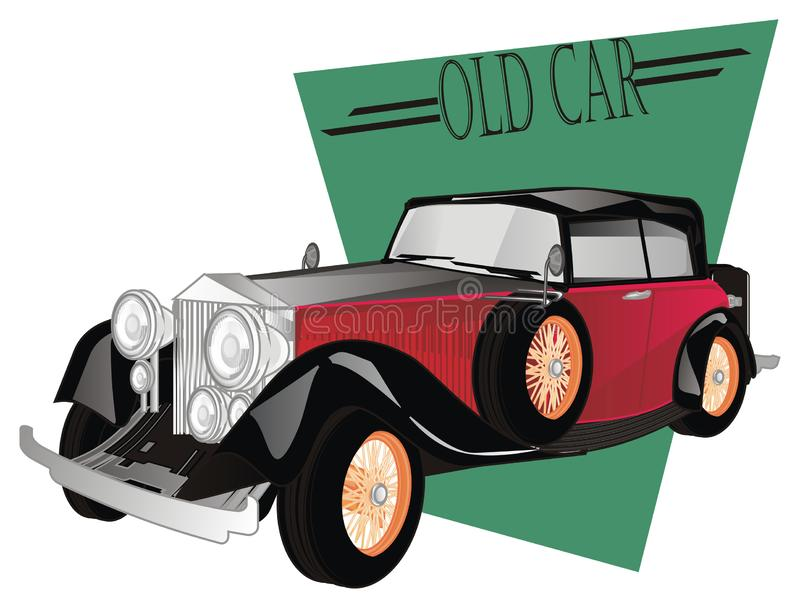 Old car on banner. Black and red old car peek up from green icon stock illustration