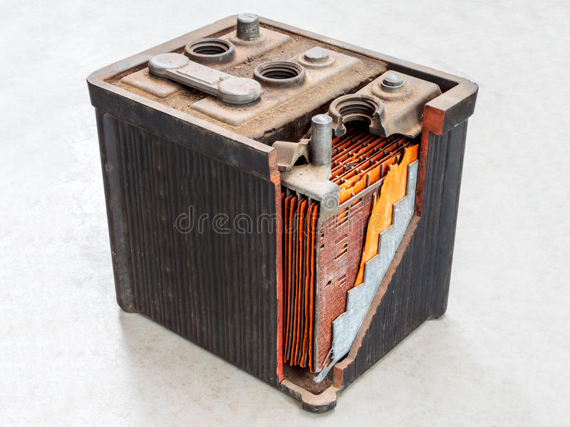 Download Old Car Battery With Partly Opened Body Stock Image - Image: 28806647