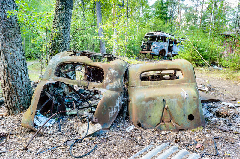 The Old Car Cemetery Stock Image
