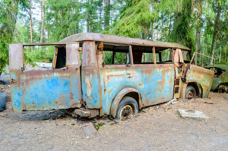 Download The old car cemetery stock image. Image of oxidized, forest - 33255315