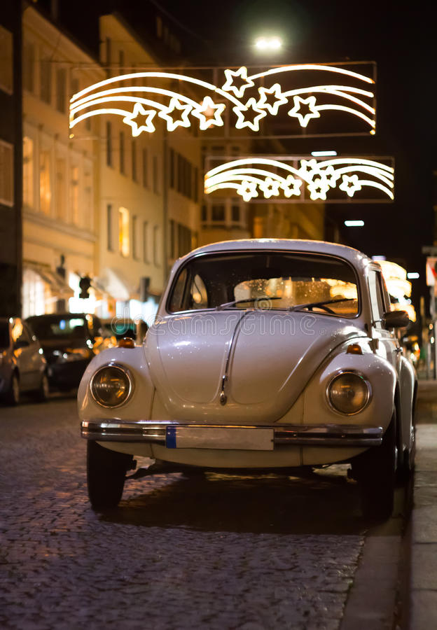 Old car at the chrismas night stock photo