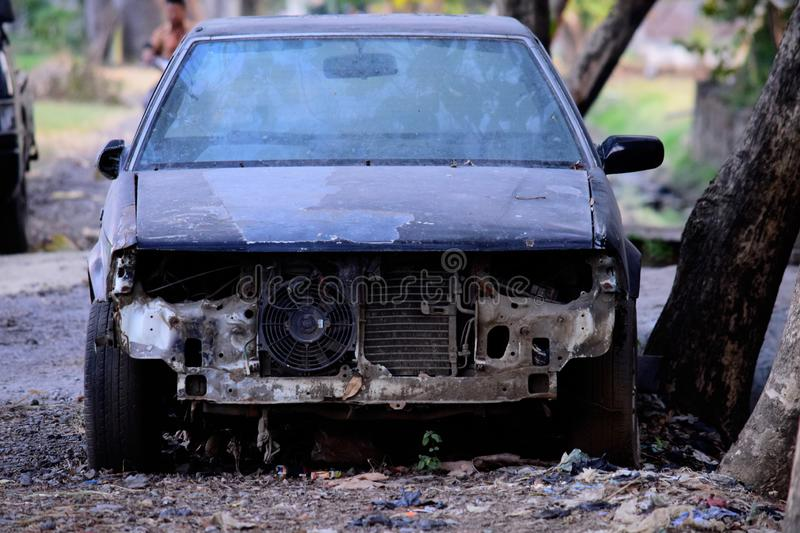 Old car damaged , dirty old car. royalty free stock photo