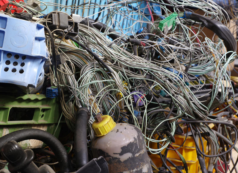 old car electric wiring set recycling stock photo image of block rh dreamstime com old wiring black and white wire is hot Telephone Connection Block