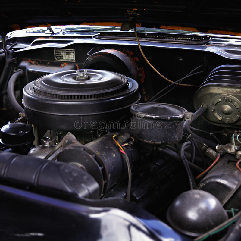 Download Old car engine stock photo. Image of wires, spare, hood - 33056892