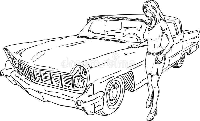 Download Old car and girl stock vector. Illustration of line, contour - 26528524