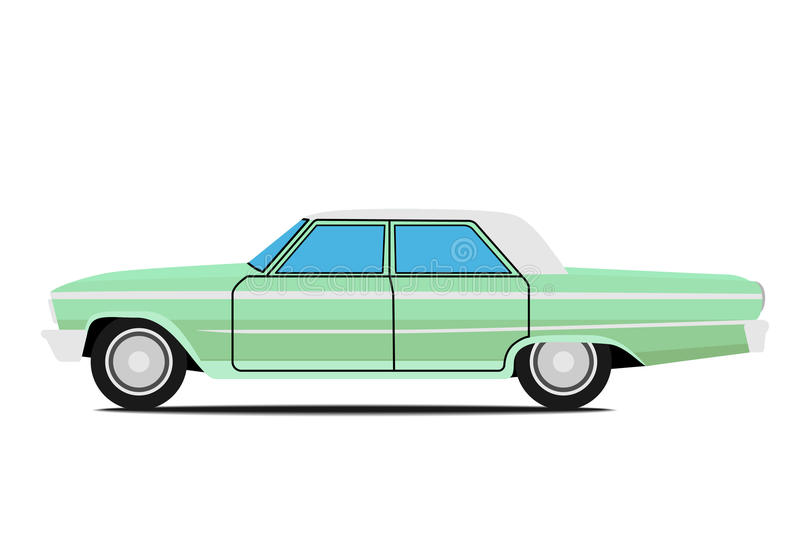 Old car. Green Old car. on whit background vector illustration