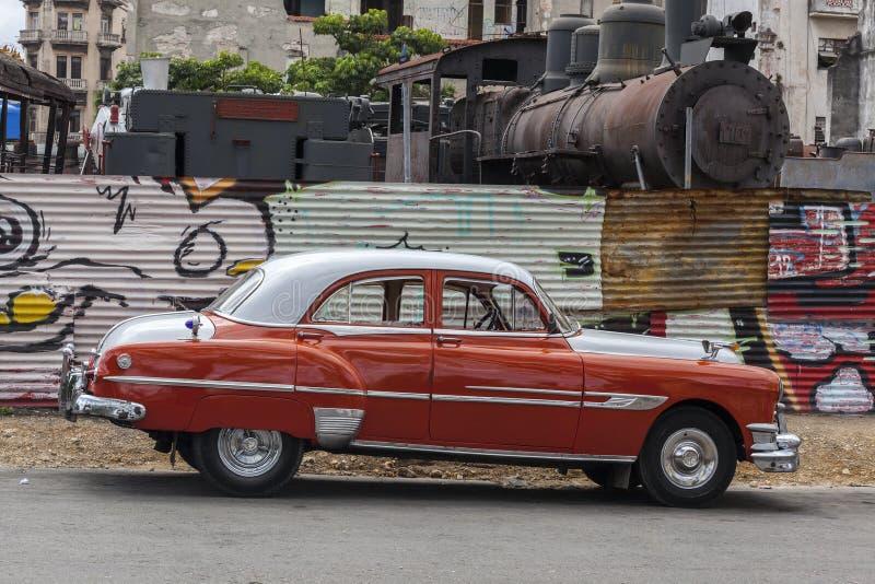 Old American car in Havana, Cuba royalty free stock photos