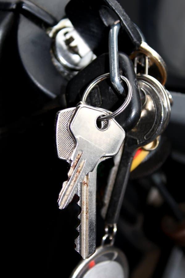 Old car keys. Let's go! Old car start keys stock image